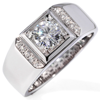 1 Carat Lab Moissanite Wedding Engagement Ring For Men Solid 14K White Gold moissanite Accent and Chinese Ancient Coin Style