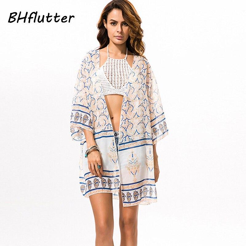 df64ed626 Bhflutter جديد وصول 2017 الصيف قمم المرأة قمصان الشيفون الأوسط كم طباعة بلوزة  قميص عارضة فضفاضة الشاطئ الاخفاء blusas