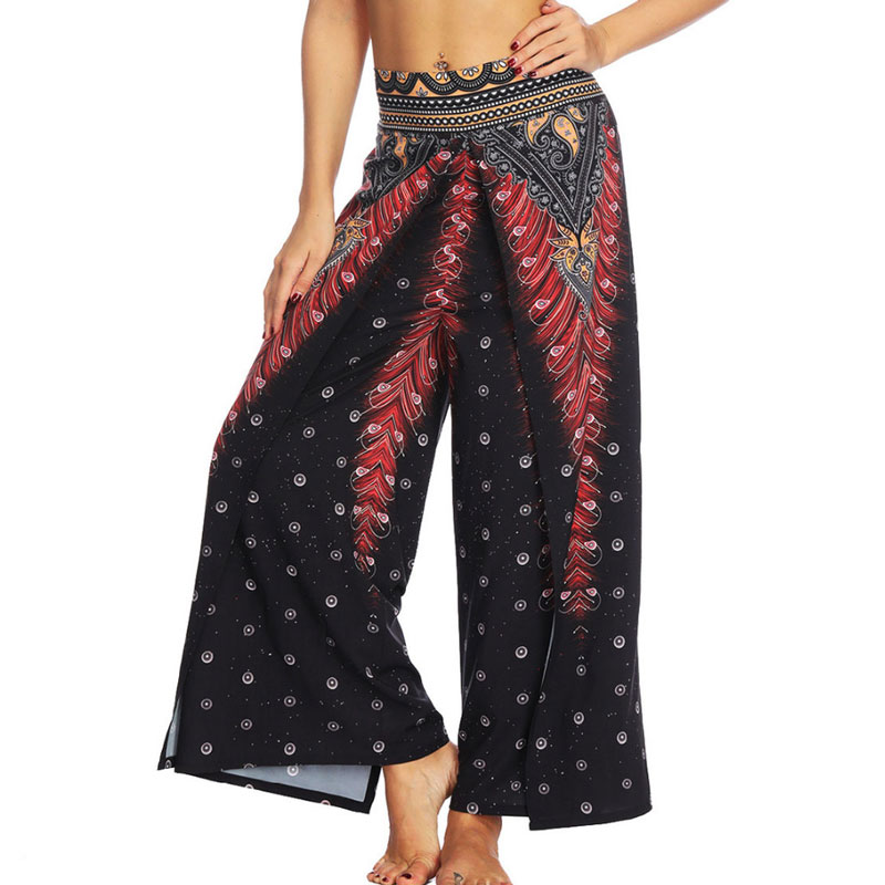 Frauen Breite Bein Boho Yoga Harem Pants Bequeme Gypsy Hippie Indischen Thailand Böhmischen Palazzo Hosen Gesmokt Taille Aladdin Hosen Yogahosen