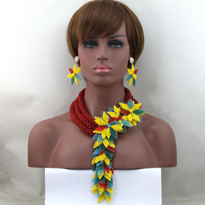 Fashion Chunky Bib African Wine Red Jewelry Sets Colorful Nigerian Beads Statement Wedding Bridal Jewelry Set Free Ship WD276 free ship gou matsuoka long wine red women style anime cosplay wig one ponytail 370f