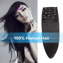 Chamring 8A Indian Virgin Hair Straight 6pc Clip In Human Hair Extension Brazilian Remy Human Hair Pure Color Clip
