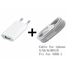 For Iphone 6 plus 5 5s 5c Power Chargers Adapter USB Charging Charger Cable White Free