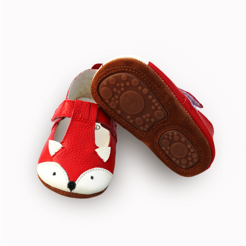 Cartoon Fox Baby Sandals Genuine Leather Anti-skid Bottom Baby Moccasins Baby Shoes
