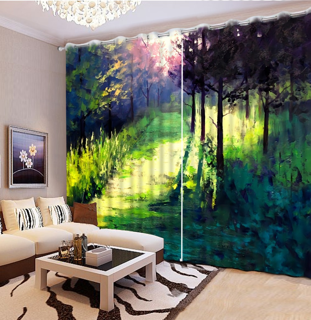3d Wall Curtains Colored Oil Painting Photo Sunset Stereoscopic