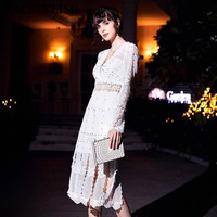 2db9f30e9e 2019 Early Spring High Quality Ladies White Dress Vintage Rivets Hollow Out  Deep V Neck Water