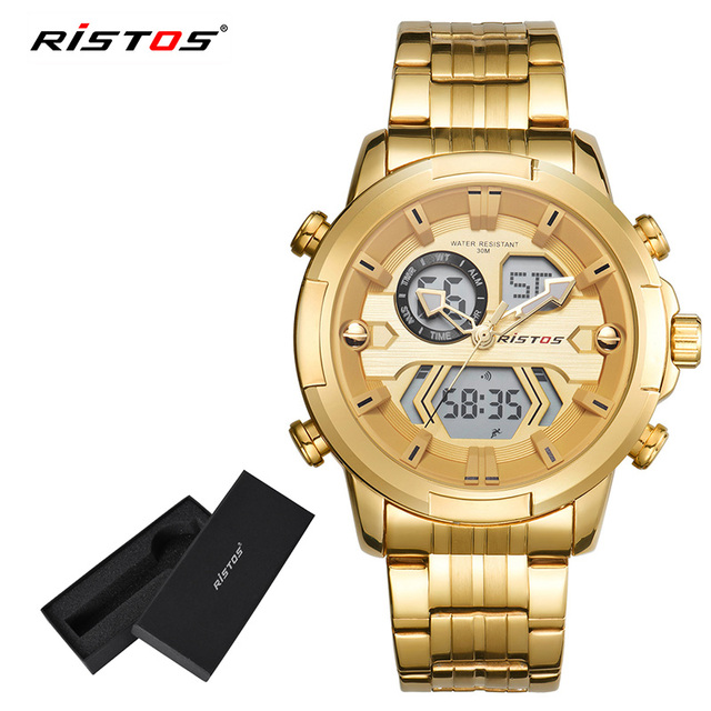 af8b036ff38a RISTOS Male Digital Analog Wristwatch Fashion Watch Relojes Masculino  Hombre Multifunction Man Sport Chronograph Watches 9359