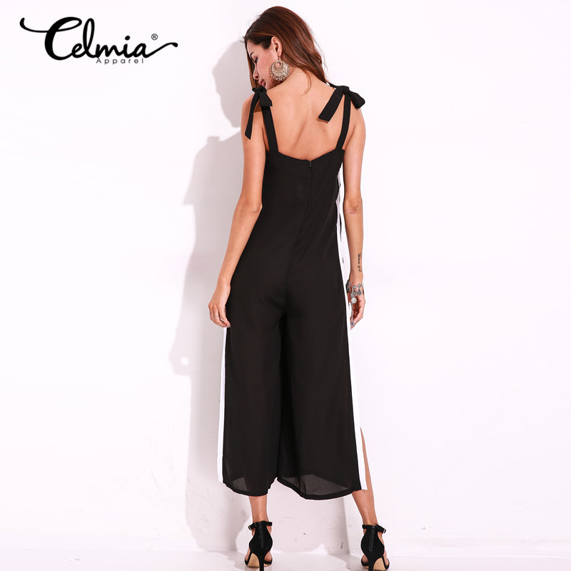 9ad2821e6c4 Plus Size Women Sexy Jumpsuit Backless Low Cut V Neck Overalls Sleeveless  Backless Long Trousers Casual Long Rompers Clothing-in Jumpsuits from  Women s ...