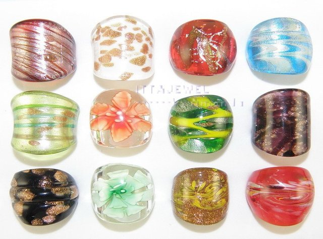wholesale 48pcs Lampwork Glass Murano Hand-painted Wedding rings Jewelry ring
