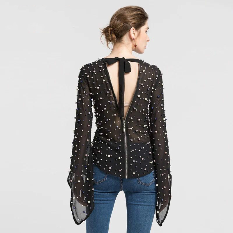 Nuit Blusa De D'été X Luxe Club Blouse Sexy Shirt Haute Perles blanc Femmes 2018 Noir Perspective Fusée Creux Douille Qualité longue Haut Out fZfqOr