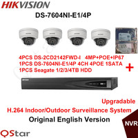 Hikvision Original English Indoor Surveillance System 4pcs DS 2CD2142FWD I 4MP IP Camera POE 6MP Recording