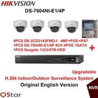 Hikvision Original English Indoor Surveillance System 4pcs DS 2CD2142FWD I 4MP IP Camera POE 6MP Recording
