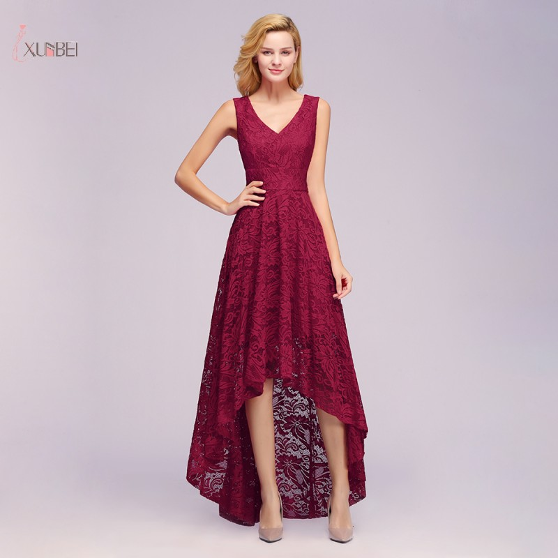 Elegant 2019 Burgundy Lace Long Evening Dress High Low V Neck Sleeveless Gown robe de soiree In Stock