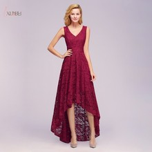 Elegant 2019 Burgundy Lace Long Evening Dress High Low V Neck Sleeveless Gown robe de soiree In Stock burgundy lace details v neck sleeveless mini dress