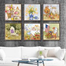 Home Decor Prints Painting Nordic Style Rose Flower Animal Tea Set Picture Wall Art Modular Canvas Poster Modern For Living Room(China)