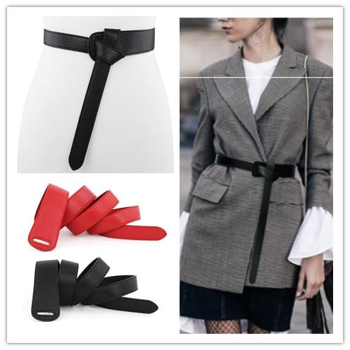 Women Belts Red Bow Design Thin PU Leather Jeans Luxury Female Belt Girdles Loop Strap Belts Bownot Brown Dress Coat Accessories