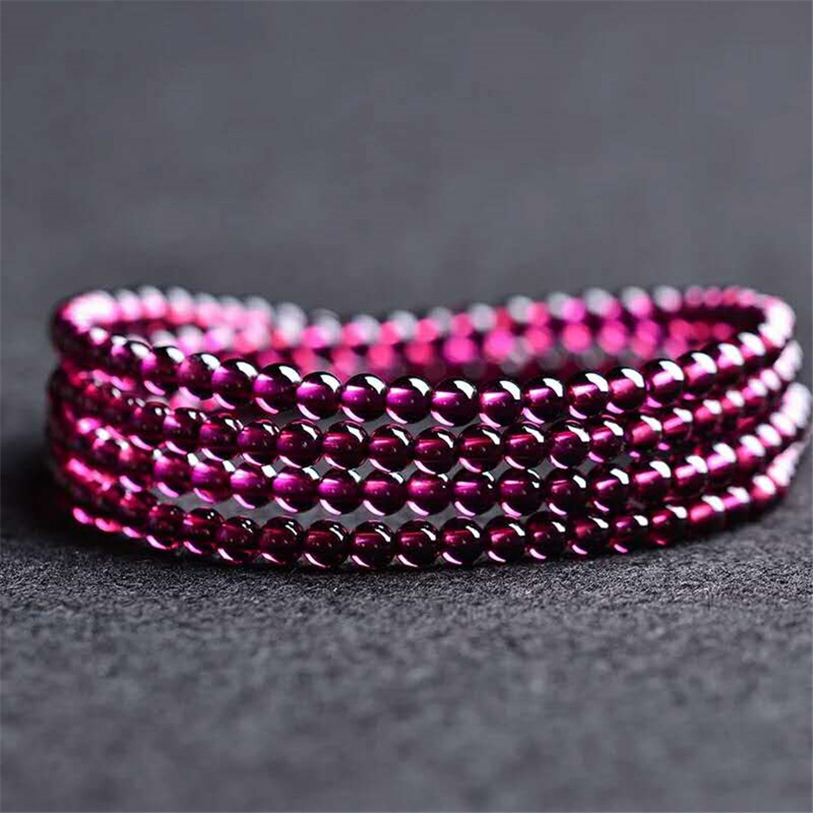 2018 Newly Genuine Natural Purple Red Garnet Crystal Bracelet Round Beads Three Times Nice Bracelet AAA Crystal Stone Bracelet цена и фото