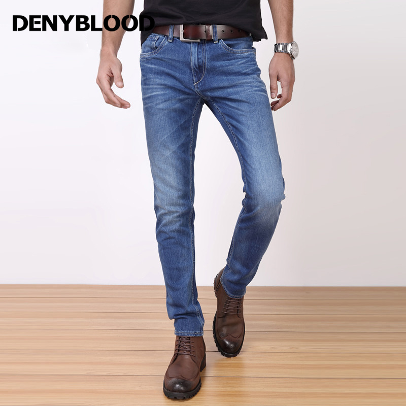 Denyblood Jeans 2017 Spring Summer Mens Lycra Stretch Denim Jeans Tie Dye Wash Slim Straight Casual Pants Trousers 718707 denyblood jeans darked wash jeans mens blue black cotton denim straight fit classic stylish casual pants male trousers 818