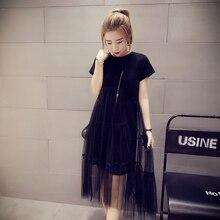 4XL плюс большой размер женщин одежда dress 2017 летний стиль корейский vestidos пляж вечер черный серый dress женский тонкий A0687