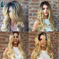 New Pre Plucked Honey Blonde Full Lace Wig Dark Roots Virgin Brazilian Body Wave Lace Front Wig Two Tone Ombre Human Hair Wigs