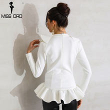 Missord Sexy Deep V Long Sleeve  Fold Solid Color Elegant  Top FT8759