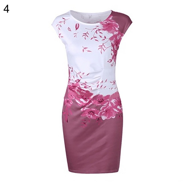 Lossky 2019 Summer Plus Size Women Dress Casual Sleeveless ONeck Print Slim Office Dress Sexy Mini Bodycon Party Dresses Vestido