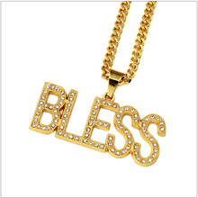 "5pcs wholesale  New 18K Gold Plated Letter ""BLESS"" Pendant Necklace With Bling Rhinestone Jewelry Hip Hop Necklace chain Gift"