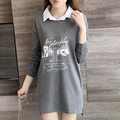 XL-5XL 2016 Otoño y el Invierno de la Marca Mujeres Camiseta Larga Más Tamaño Gris Impreso de Manga Larga Casual Camiseta Floja para Las Mujeres