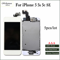 Mobymax 5PCS Full LCD Ecran Assembly For IPhone 5 LCD Display For Iphone 5s 5C Touch
