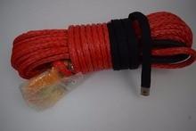 赤 12 ミリメートル * 30 メートル合成ウインチロープフック、ケブラーウインチケーブル、ウインチロープ延長、オフロードロープ