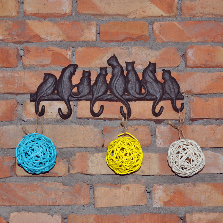 Cast iron cats hooks hanging decorative garden European style ancient wall hanger creative garment key in Figurines Miniatures from Home Garden