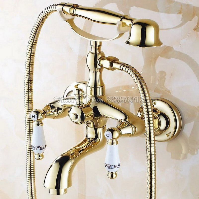 Luxury Gold Color Brass Handheld Shower Mixer Taps Wall Mounted Contemporary Bathroom Tub Faucet Set Wtf080