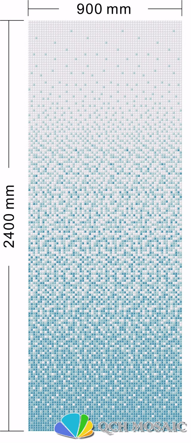 Ceramic mosaic tile for house decoration wall tile blue color gradual changes pattern 900xH2400mm qch63 plastic standing human skeleton life size for horror hunted house halloween decoration