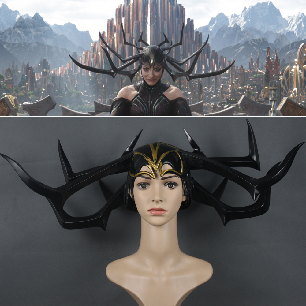 2017 Movie Thor 3 Ragnarok Hela Pvc Cosplay Masks Black Horns Queen Helmets Women Halloween Props Party Novel In Design;