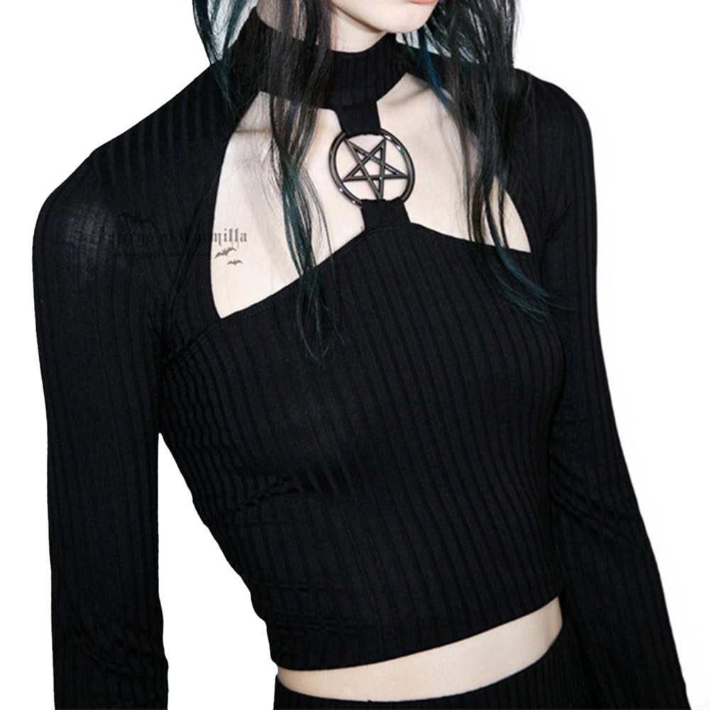 Rosetic Gothic Short Top Slim Black Hollow Pentagram Tops Women Autumn Streetwear Hipster Fashion Club Sexy Navel T Shirts Girl