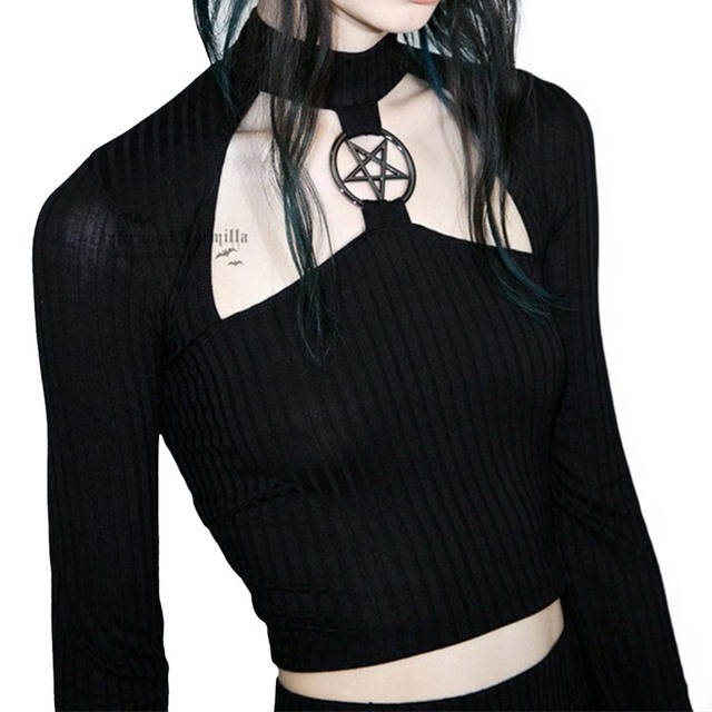 Rosetic Gothic Short Top Slim Black Hollow Pentagram Tops Women Autumn Streetwear Hipster Fashion Club Sexy Navel T Shirts Girl