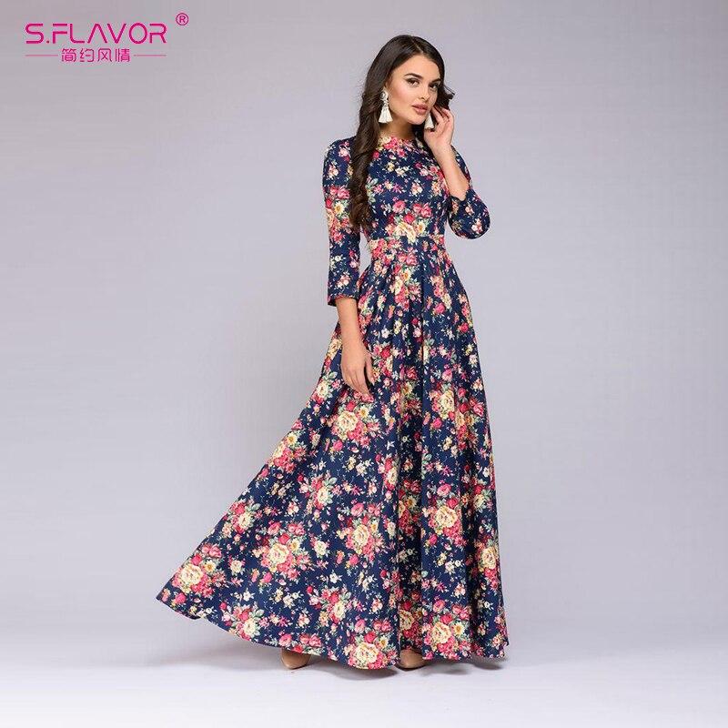 ecdc8c0fe Mujeres as Impresión De Cuello Floral Sexy As Vintage Nueva Festa Verano  2019 Vestido Vestidos Largo ...