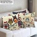 Owl Printed Cushion Home Decor 43x43cm/17x17'' Linen&Polyester Decorative 1Pcs/lot