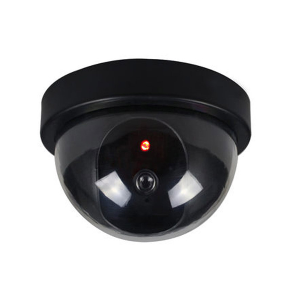 Black Plastic Smart Indoor/Outdoor Dummy Home Dome Fake CCTV Security Camera With Flashing Red LED Light CA-05