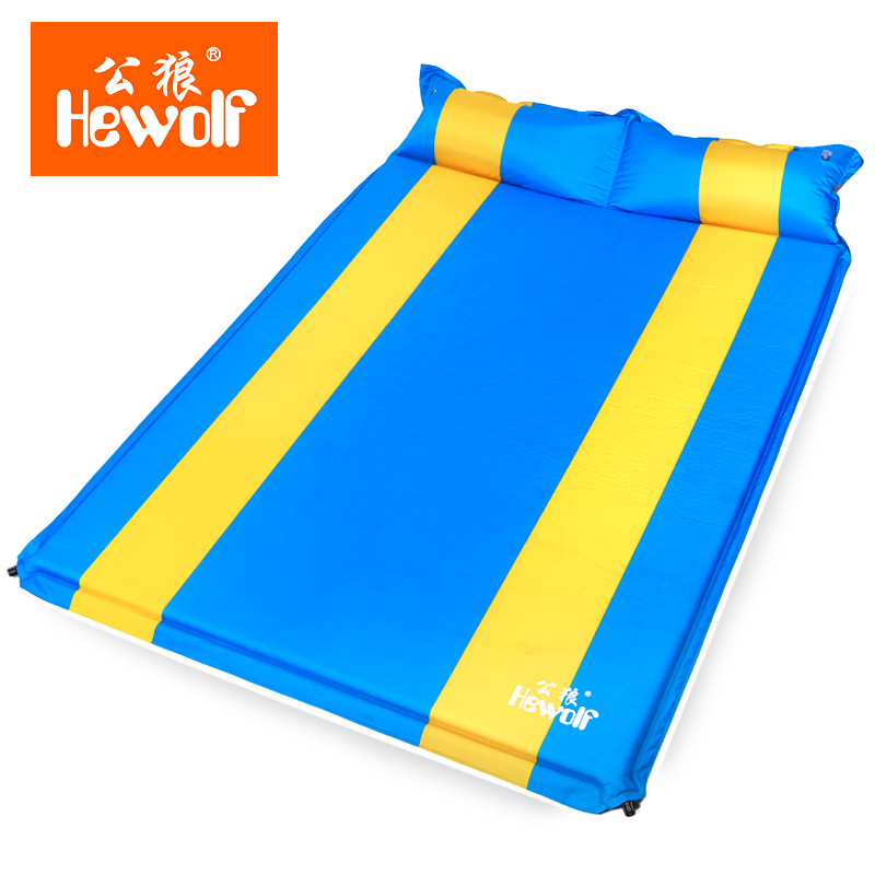 Hewolf 2 Persons Camping Sleeping Mat Automatic Inflatable Cushion Sleeping Mat With Pillows Dampproof Outdoor or Indoor Break hewolf 200 65 4cm high quality 4cm thickening single moistureproof comfortable camping outdoor mat with pillows can be spliced