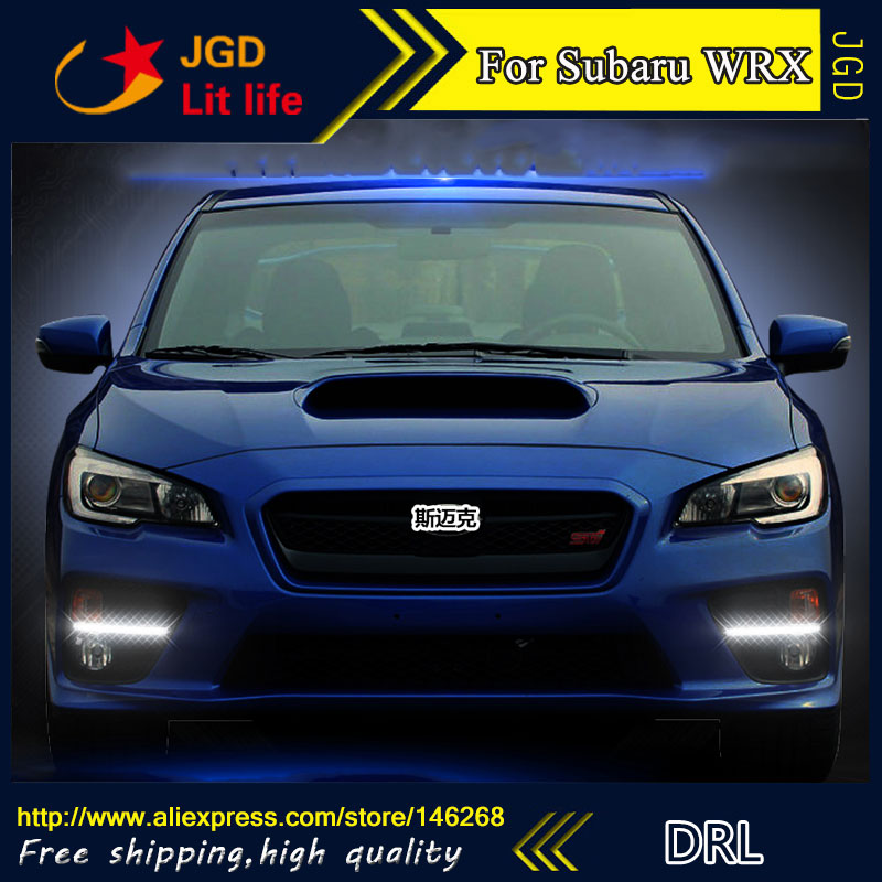 Free shipping ! 12V 6000k LED DRL Daytime running light for Subaru WRX 2015 2016 fog lamp frame Fog light free shipping 12v 6000k led drl daytime running light case for subaru wrx 2015 2016 fog lamp frame fog light car styling