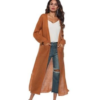 New European Women Long Cardigan Plus Size Thick Kimono Long Sleeve Sweater Loose Asymmetrical Hem Women Outerwear Black Gray allover florals print fringe hem kimono