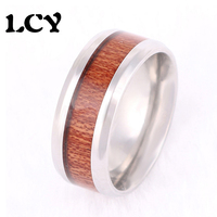 2016 New Fashion Wholesale Simple And Elegant Stainless Steel 8MM Ring With Wood Design Men Promise