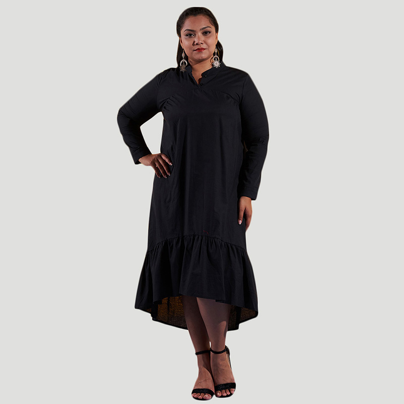 Women Plus Size 4XL Shift Dress Ruffles High Low Hem Stand Collar Buttons Long Sleeve Casual Loose Midi Dresses Vestidos Mujer
