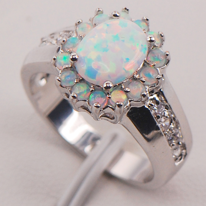 White Fire Opal Australia 925 Sterling Silver Woman Jewelry Ring Maat 6 7 8 9 10 11 F578