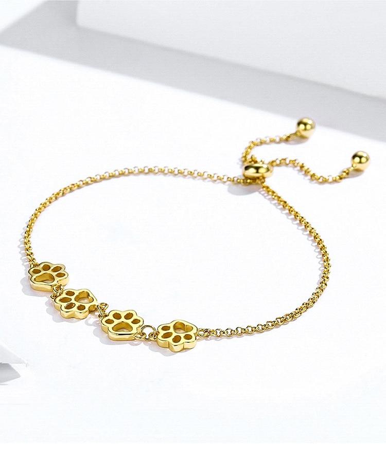 HTB1UuFGaKH2gK0jSZJnq6yT1FXaX BAMOER New Arrival Genuine 925 Sterling Silver Animal Footprints Chain Bracelets for Women Valentines Day Jewelry Gift SCB096