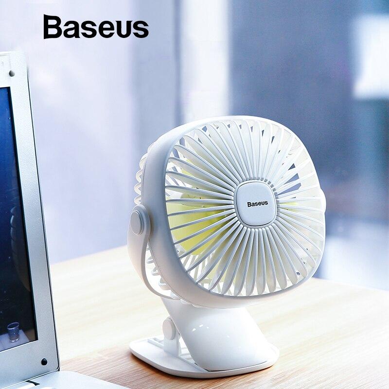 Baseus Mini USB recargable ventilador de la refrigeración por aire de ventilador de escritorio de doble uso casa estudiante dormitorio cama portátil de escritorio oficina Fan