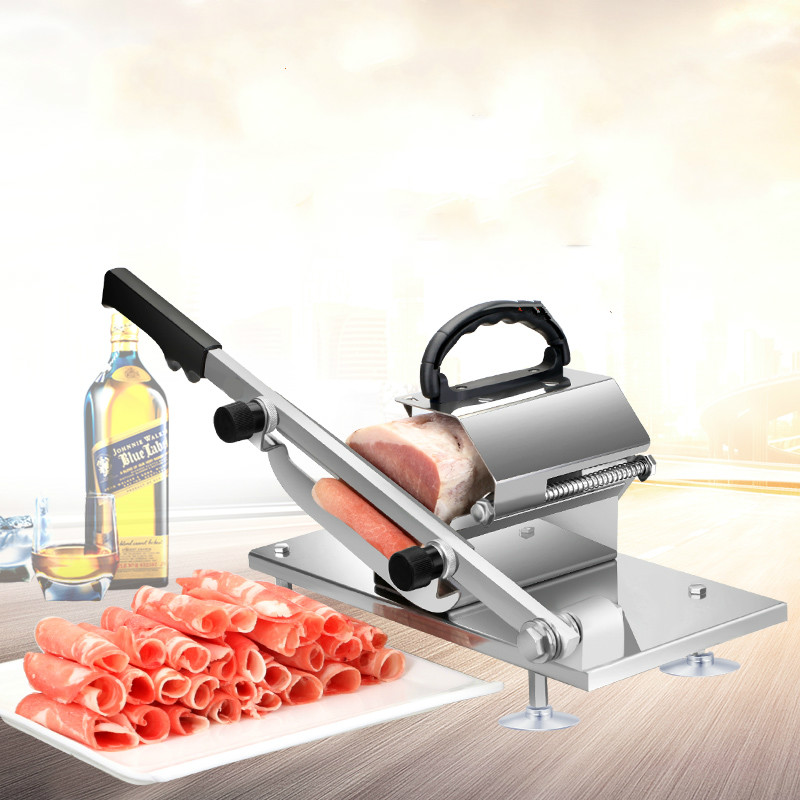 Auto Transit Meat Mutton Slicer Machine Adjustable Thickness Household Manual Meat Cutter Commercial Beef Mutton Rolls Cutter