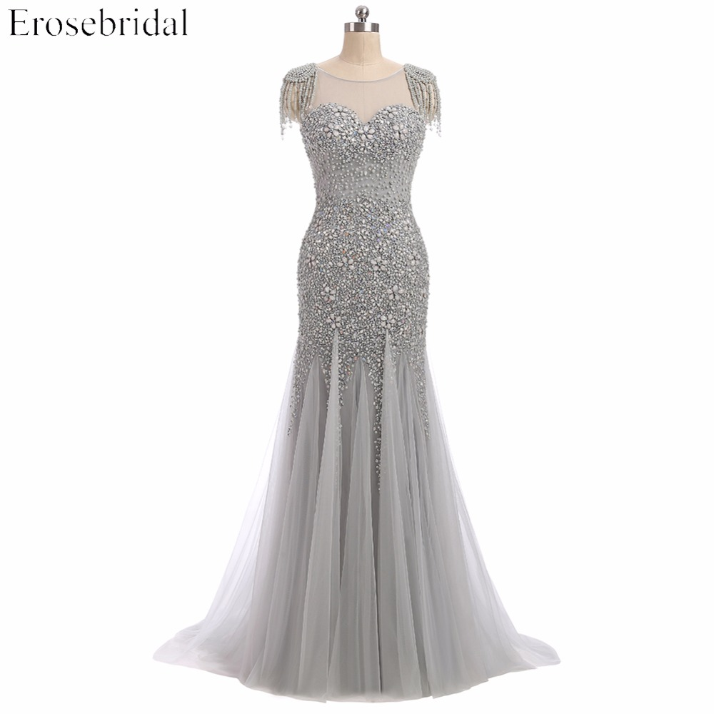 Erosebridal Grey Beaded Mermaid   Evening     Dress   Sheer Neck Elegant Long Pearls Prom Gowns U Back Neck Design Drop Shipping