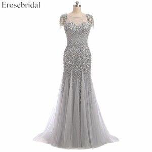 Image 1 - Erosebridal vestido de noche escarpado con cuentas grises, vestidos de baile con perlas, cuello en U