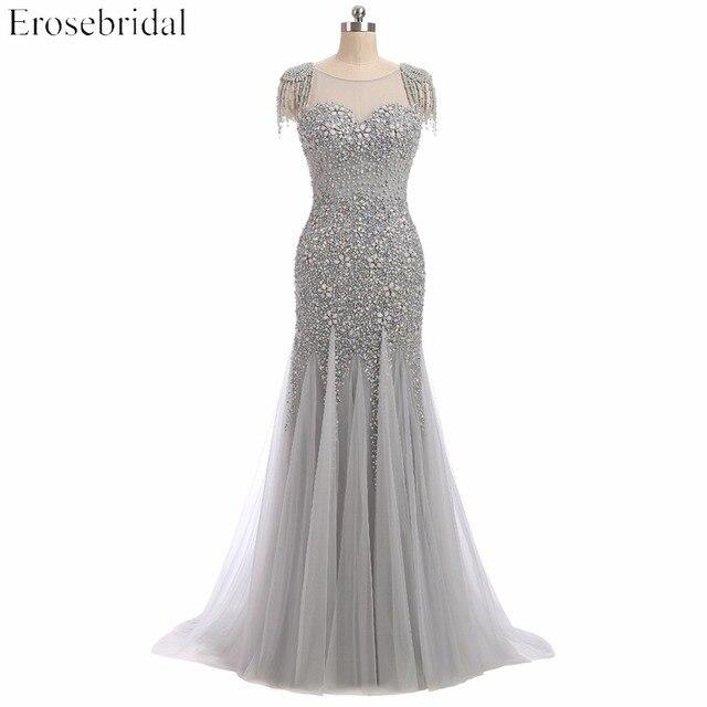 Erosebridal vestido de noche escarpado con cuentas grises, vestidos de baile con perlas, cuello en U